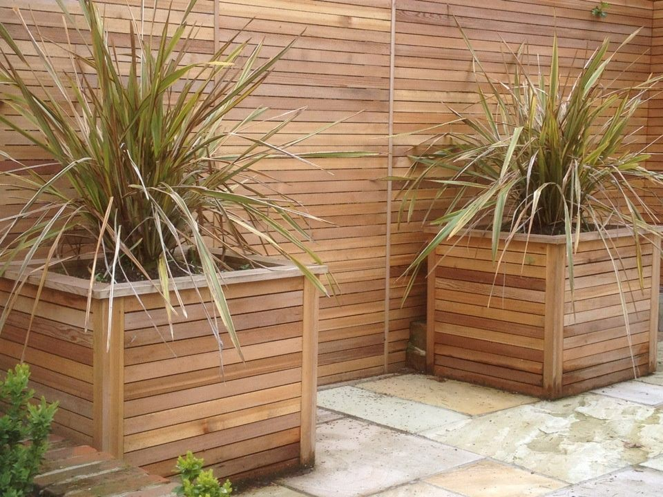 paving-Custome made cedar planters