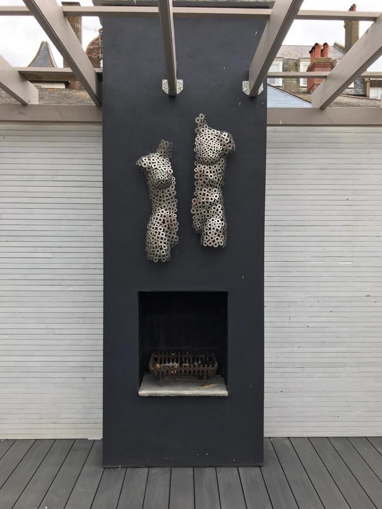 Rendered outdoor fireplace in Aldeburgh, Suffolk